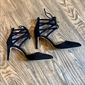 Jeanne Beker Lace Up Black Suede Heels